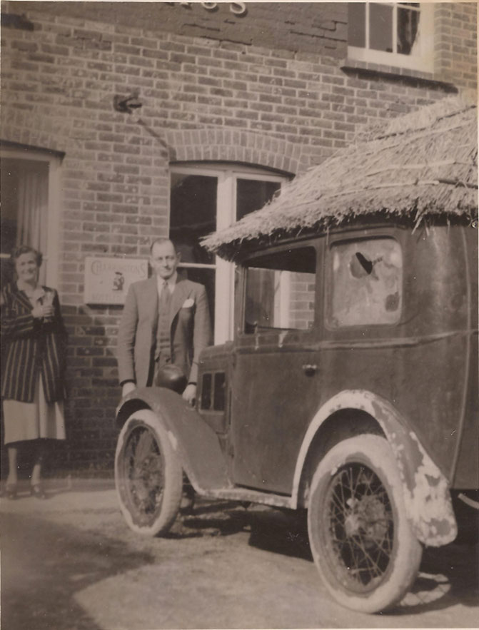A photo taken by Jeff Tullberg's father in the late 40s, of Fred & Phyllis Aspin by Fred's thatched Austin Seven which he used for an informal transport service from Milton Street to Alfriston after the Second World War.